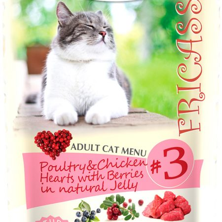 Berkley № 3 Cat Adult Fricassee Poultry & Chicken Hearts With Berries In Natural Jelly для взрослых кошек фрикасе с птицей